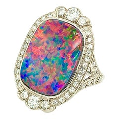 Platinum Lightning Ridge Black Opal Doublet Ring