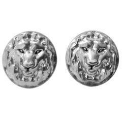 Platinum Lion Earrings