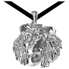 Platinum Lion Pendant Necklace