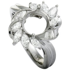 Platinum Marquise and Tapered Baguette Diamonds Mounting Ring