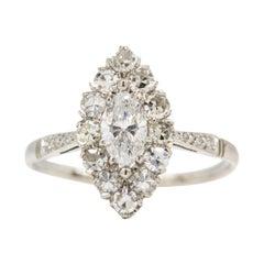 Platinum Marquise Cut Diamonds Engagement Ring