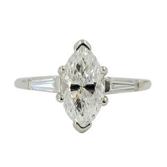 Platinum Marquise Diamond Three-Stone Engagement Ring