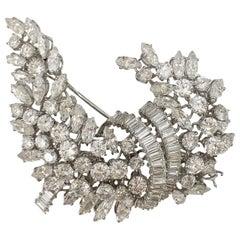 Platinum Marquise, Old European and Baguette Diamond Cornucopia Brooch 21.80CTW