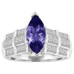 Platinum Marquise Shape Purplish Tanzanite and Diamond Ring 'Center, 1.99 Carat'