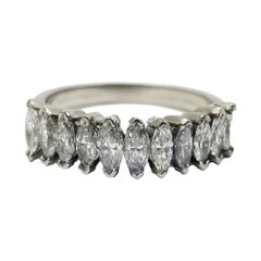 Platinum Marquise Shaped Diamond Band