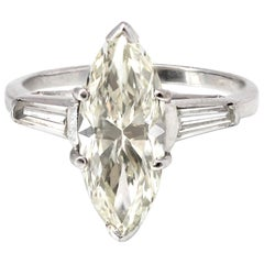 Platinum Marquise Solitaire Diamond Ring