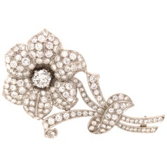 Platinum Maurice Tishman Diamond Flower Pin