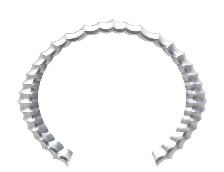 Contemporary Platinum Men's Concave Cuff Bracelet For Sale