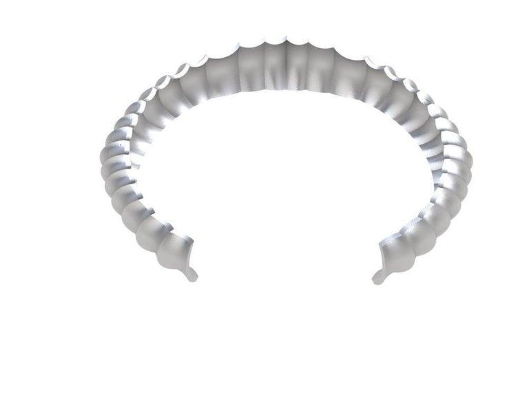 Platinum Men's Concave Cuff Bracelet For Sale 2