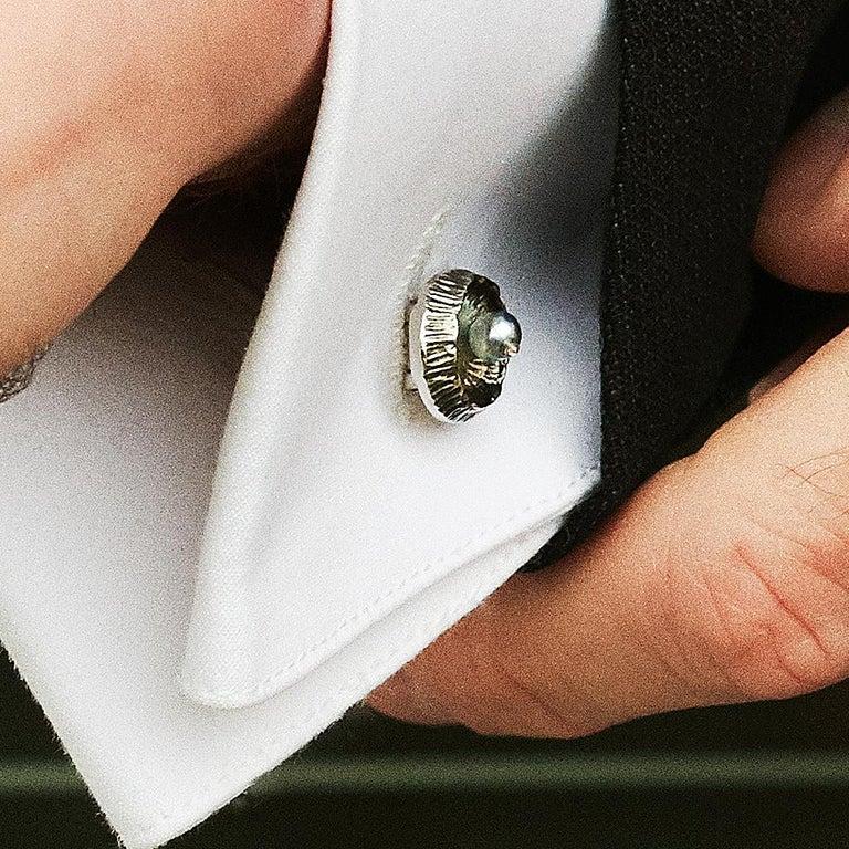 Modern AENEA Platinum Meteorite Pearls White Diamonds Cufflinks For Sale