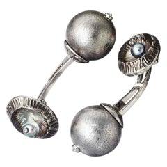Platinum Meteorite Pearls White Diamonds Cufflinks