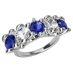 Platinum Modern Victorian Sapphires and GIA Diamonds Cocktail Ring