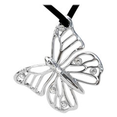 Platinum Monarch Butterfly and GIA Diamonds Pendant Necklace