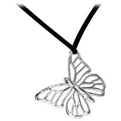 Platinum Monarch Butterfly Pendant Necklace