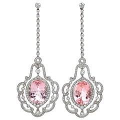 Platinum Morganite, Diamond Hanging Earrings