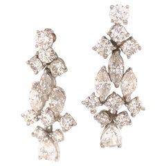 Platinum Multi-Shape Diamond Hanging Earrings