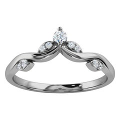 Platinum Narin Delicate Organic Design Diamond Ring '1/10 Ct. tw'