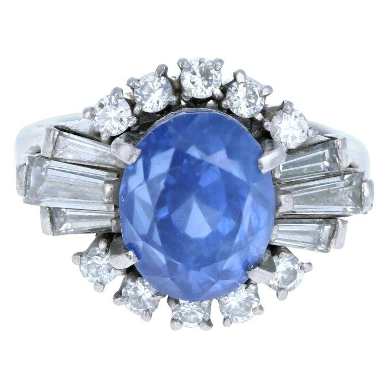 Platinum Natural 100% Guarantee No Heat Sapphire and Diamond Ring 6.75 Carat