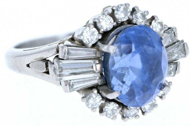 Platinum Natural 100% Guarantee No Heat Sapphire and Diamond Ring 6.75 Carat In Good Condition In Beverly Hills, CA