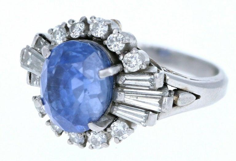 Women's or Men's Platinum Natural 100% Guarantee No Heat Sapphire and Diamond Ring 6.75 Carat