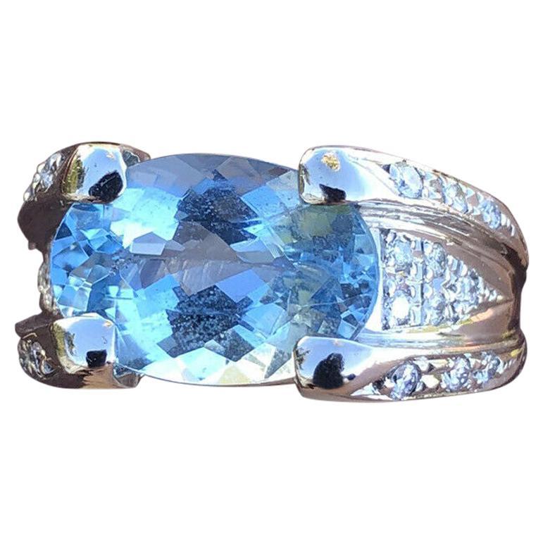 Platinum Natural Aqua Aquamarine and Diamond Ring 4.72 Carat 14.6g