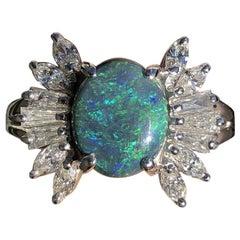 Platinum Natural Black Opal and Diamond Ring 2.75 Carat 11.2g
