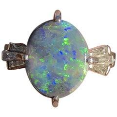 Platinum Natural Black Opal and Diamond Ring 2.94 Carat 6.8g