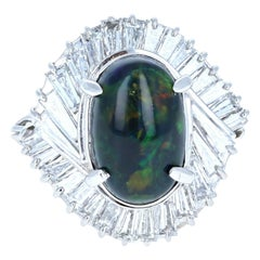 Platinum Natural Black Opal and Diamond Ring 5.01 Carat 12.6g