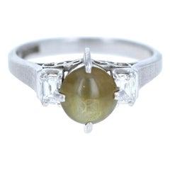 Platinum Natural Chrysoberyl Cats Eye and Diamond Ring 2.12 Carat 5.2g