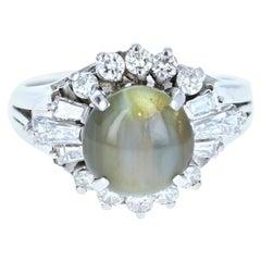 Platinum Natural Chrysoberyl Cats Eye and Diamond Ring 4.02 Carat