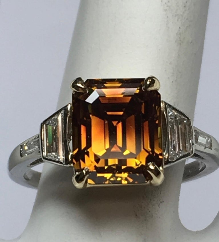 Platinum Natural Emerald Cut Diamond Ring GIA 3.37 Carat Fancy Deep Orange-Brown In Good Condition For Sale In Los Angeles, CA