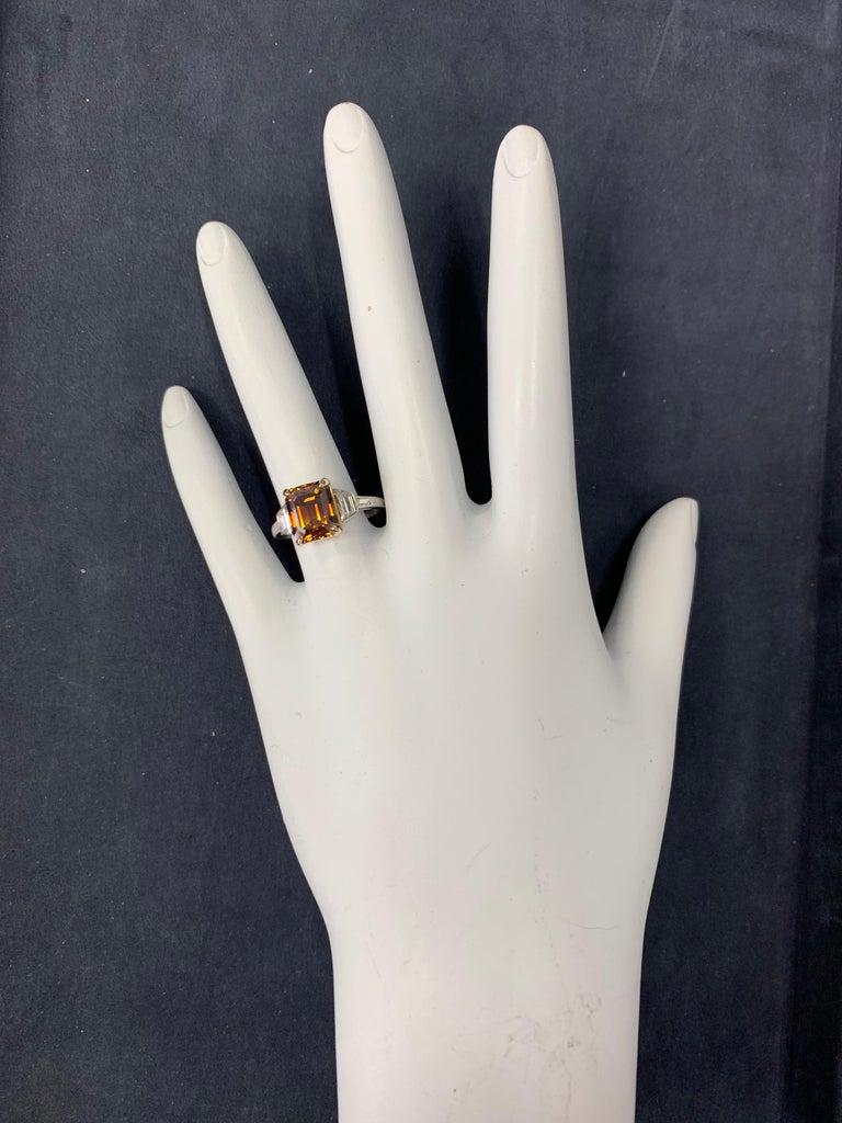 Women's Platinum Natural Emerald Cut Diamond Ring GIA 3.37 Carat Fancy Deep Orange-Brown For Sale