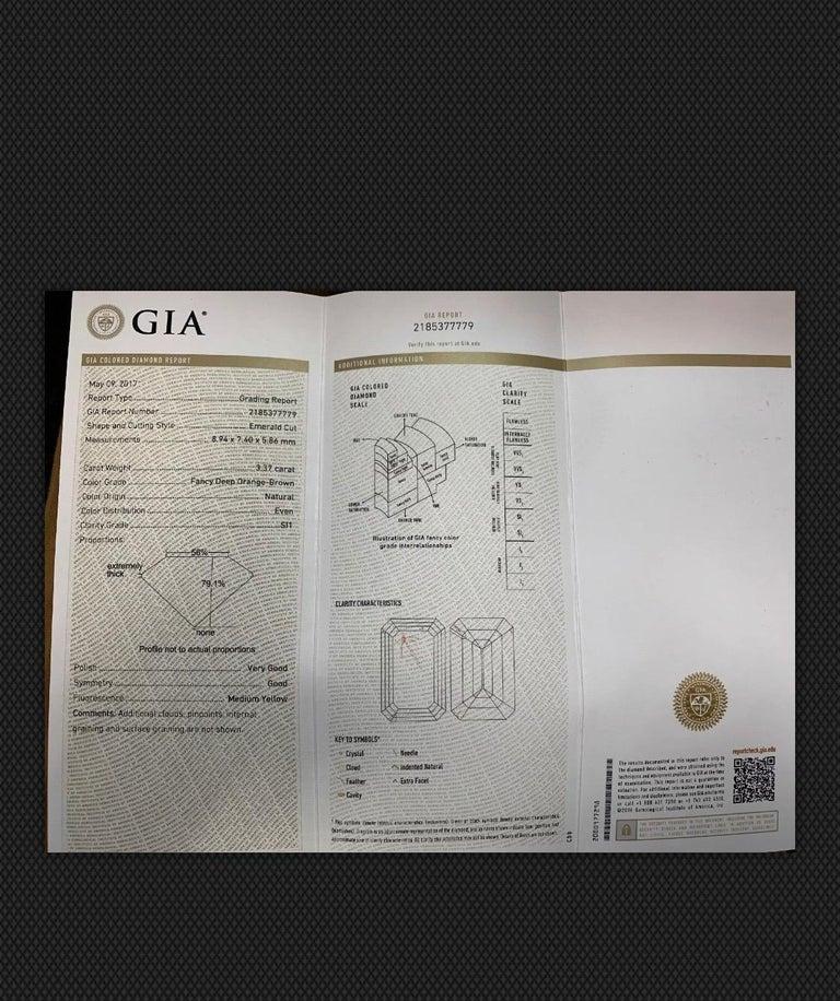 Platinum Natural Emerald Cut Diamond Ring GIA 3.37 Carat Fancy Deep Orange-Brown For Sale 1