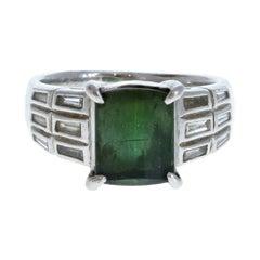 Platinum Natural Green Tourmaline & Diamond Ring 4.45ctw 11g
