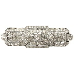 Platinum Natural Old Cut Diamond Art Deco Brooch