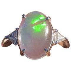 Platinum Natural Opal and Diamond Ring 4.06 Carat 9g