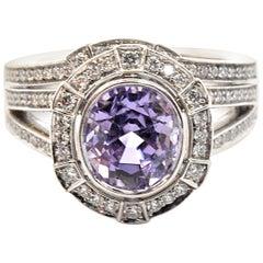 Platinum Natural Purple Oval 2.29ct Sapphire and 0.30cttw Diamond Wedding Set