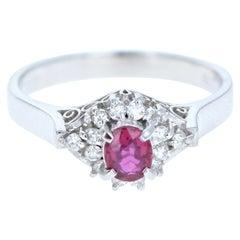 Platinum Natural Ruby and Diamond Ring 0.56 Carat