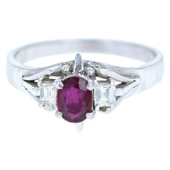 Platinum Natural Ruby and Diamond Ring 0.70 Carat 5.1g