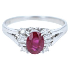 Platinum Natural Ruby and Diamond Ring 1.44 Carat 5.5g