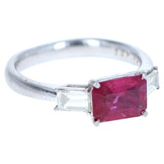 Platinum Natural Ruby and Diamond Ring 2.08 Carat