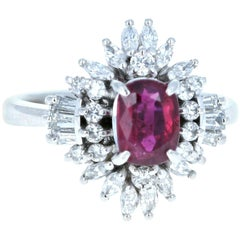 Platinum Natural Ruby and Diamond Ring 2.27 Carat