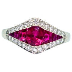 Platinum, Natural Ruby and Diamond Ring