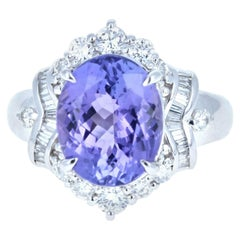Platinum Natural Tanzanite and Diamond Ring 5.63 Carat 10g