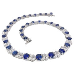 Platinum Necklace 33.70 Carat Oval Blue Sapphires and 13.22 Carat Diamonds