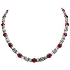 Platinum Necklace with 16.82 Carat Rubies and 10.02 Carat Diamonds