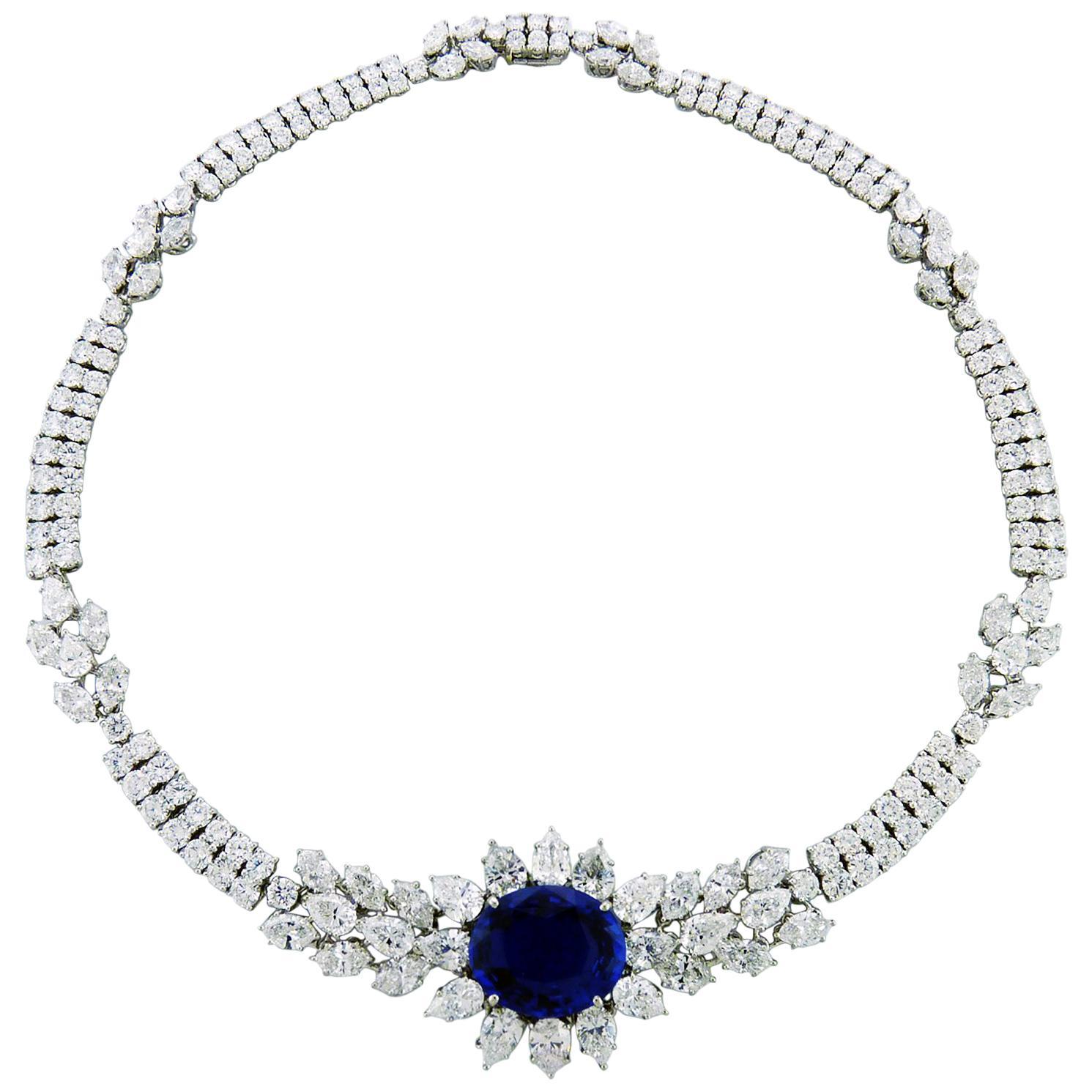Certified Graff Sapphire Diamond Platinum Necklace