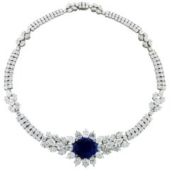 Platinum Necklace with Diamonds and Sapphire by Graff