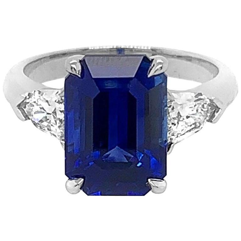 c771219ccf1a4 Platinum Octagonal 7.03 Carat Sapphire 0.84 Carat Diamond Ring