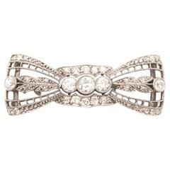 Platinum Old Cut Diamond Bow Brooch